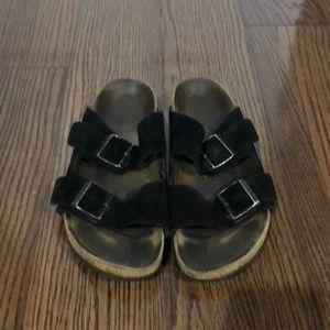 Birkenstock black Suede Arizona strappy sandals 8